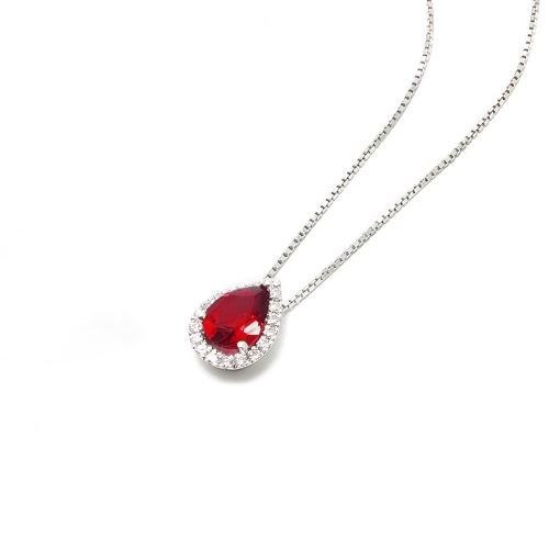 Girocollo Rubino a Goccia e Diamanti