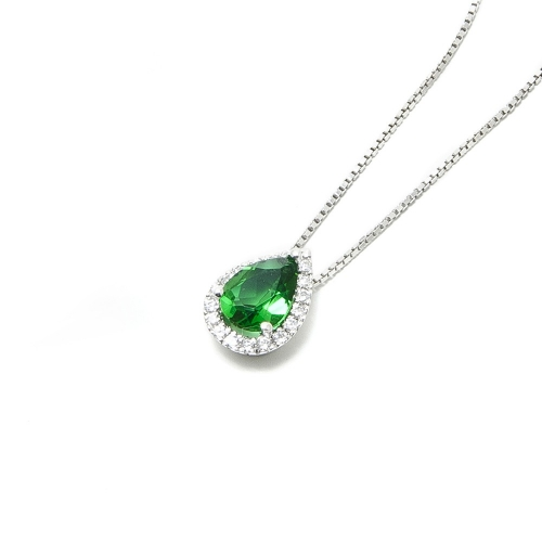 Girocollo Smeraldo a Goccia e Diamanti
