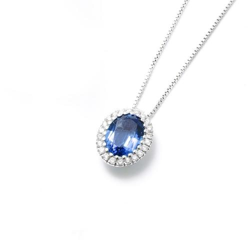 Girocollo Zaffiro blu ovale con...