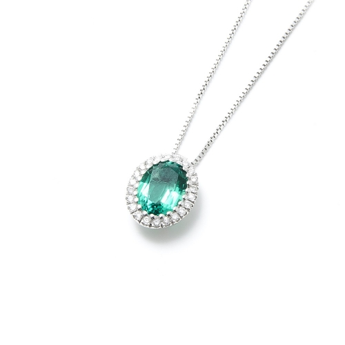 Girocollo Smeraldo ovale con contorno...