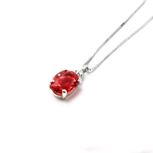 Girocollo Rubino ovale con Diamanti