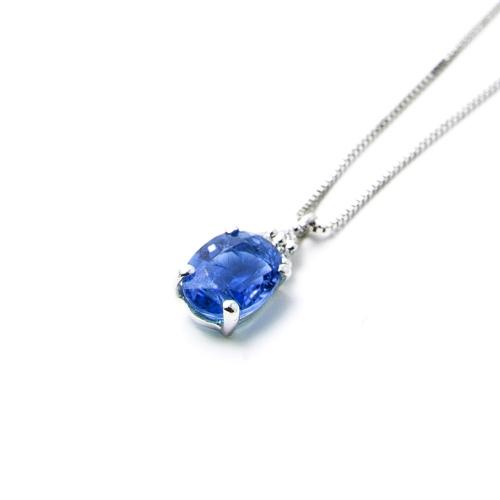 Girocollo Zaffiro blu ovale con Diamanti