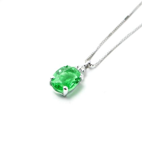 Girocollo Smeraldo ovale con Diamanti