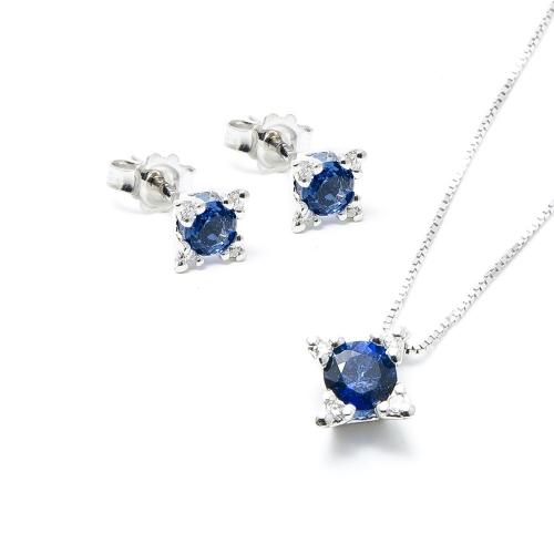 Parure Zaffiro blu e Diamanti a Stella