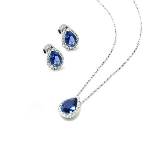 Parure Zaffiro blu e Diamanti a Goccia
