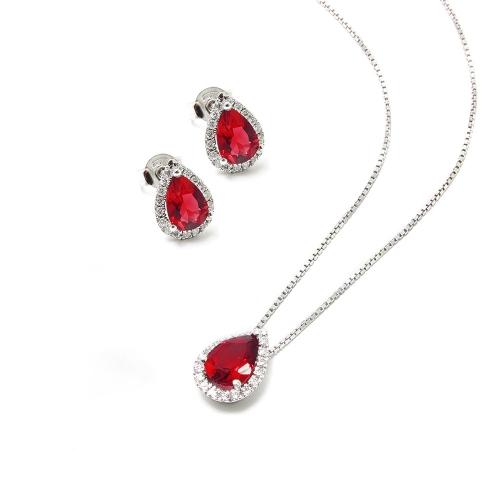 Parure Rubino e Diamanti a Goccia