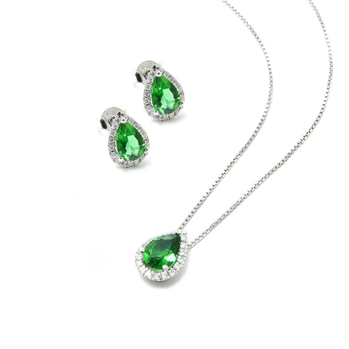 Parure Smeraldo e Diamanti a Goccia