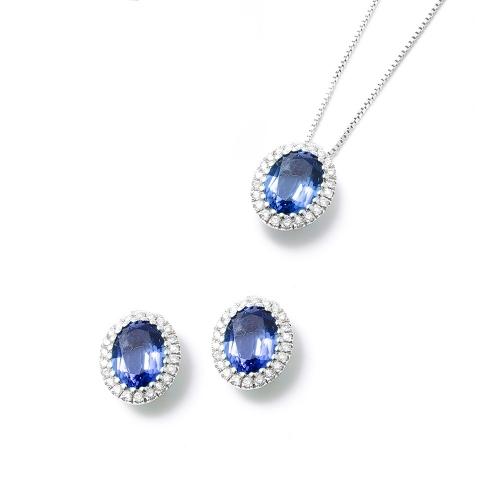Parure Zaffiro blu ovale con contorno...