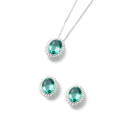 Parure Smeraldo ovale con contorno di...