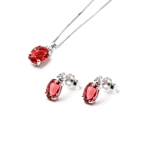 Parure Rubino ovale con Diamanti