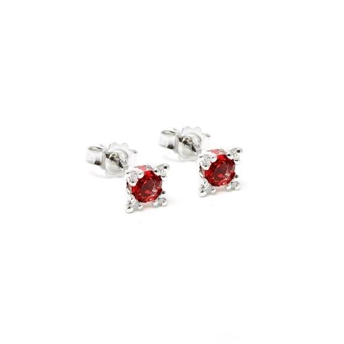 Orecchini Rubino e Diamanti a Stella
