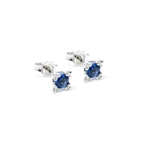 Orecchini Zaffiro blu e Diamanti a...
