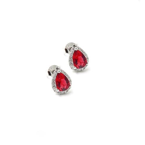 Orecchini Rubino e Diamanti a Goccia