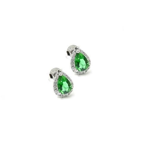 Orecchini Smeraldo e Diamanti a Goccia