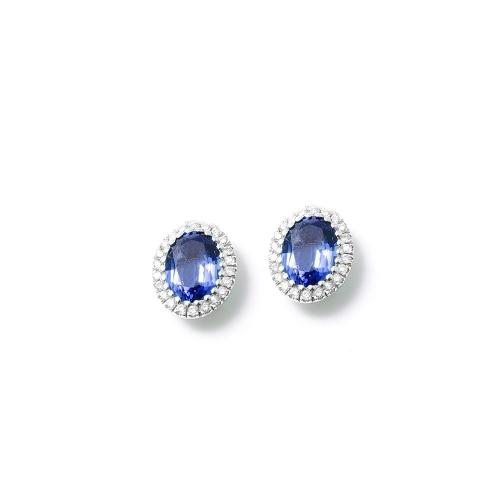 Orecchini Zaffiro blu ovale con...