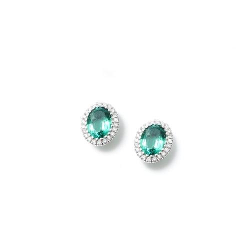Orecchini Smeraldo ovale con contorno...