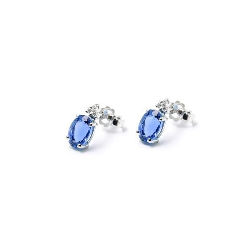 Orecchini Zaffiro blu ovale con Diamanti