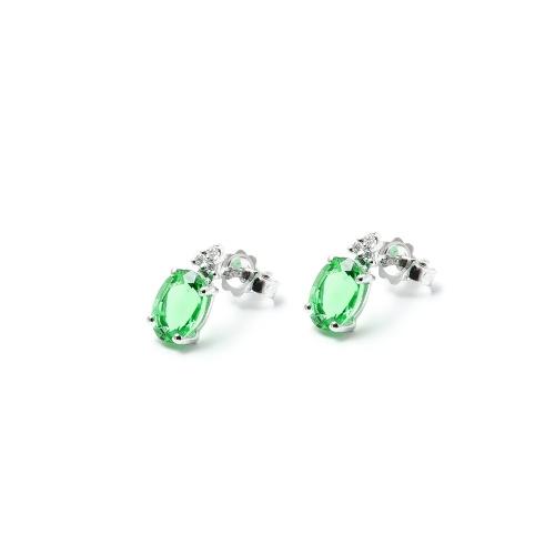 Orecchini Smeraldo ovale con Diamanti