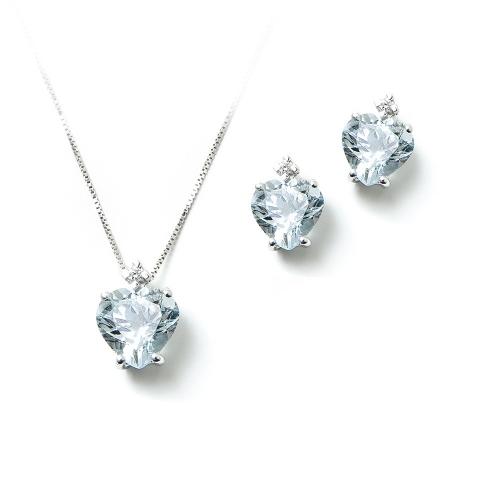 Parure Acqua Marina cuore con Diamanti