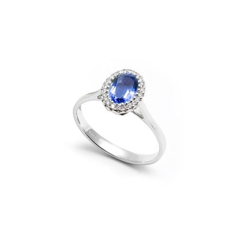 Anello Zaffiro blu Ovale con contorno...