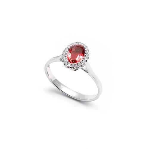 Anello Rubino Ovale con contorno di...
