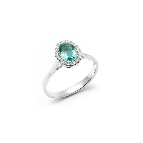 Anello Smeraldo Ovale con contorno di...