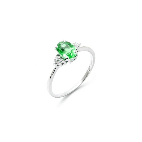 Anello Smeraldo Ovale con Diamanti