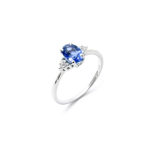 Anello Zaffiro blu Ovale con Diamanti
