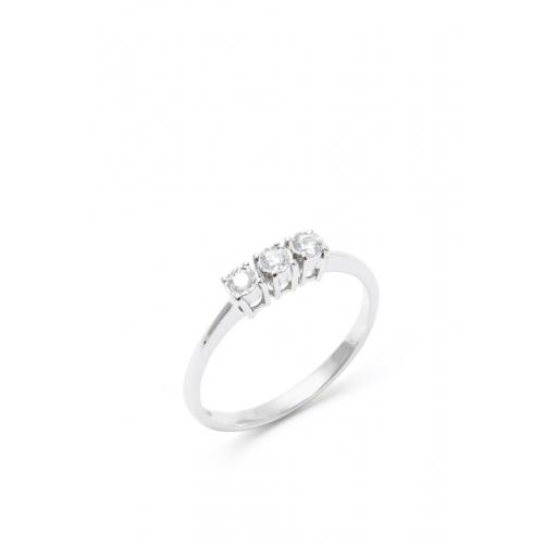 Anello Trilogy Diamanti e Oro Bianco