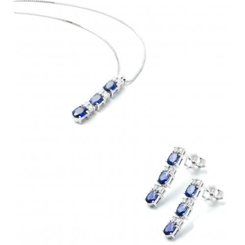 Parure Zaffiro blu e Diamanti